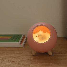 잠자는 고양이 충전식 무드등 수유등 취침조명 핑크