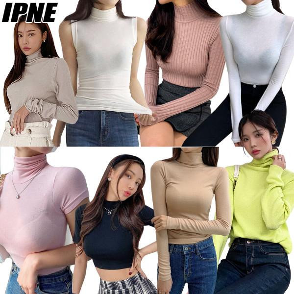 봄 여성 폴라티셔츠 스판 무지 골지 면 슬림 쫄티반목 상품이미지