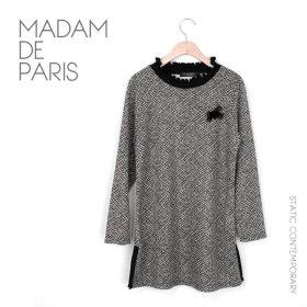 마담드파리 프릴넥격자무늬롱티셔츠/중년여성/마담옷