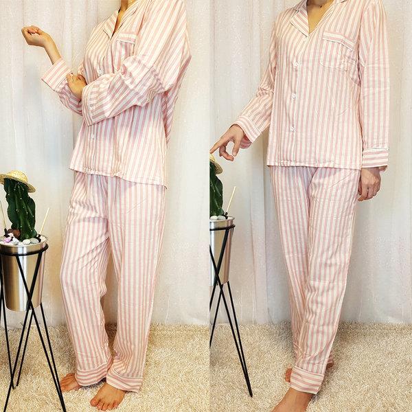 커플 수면 홈웨어 파자마 순면 잠옷 핑크 여FREE 상품이미지