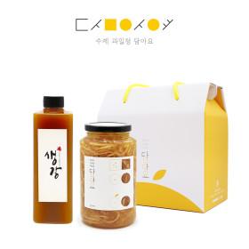 수제청2종 선물세트  착즙 생강청500(플)+모과청650g