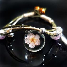 꽃 매듭 팔찌 우정 선물 크리스탈 벚꽃 플라워팔찌