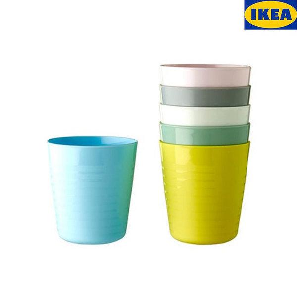 이케아 물컵6개 커피 음료 쥬스 캠핑용품 컵 파스텔 상품이미지