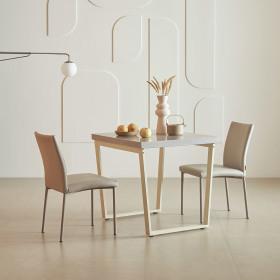프레임 스틸 대리석 식탁세트 2인 (의자2 포함)