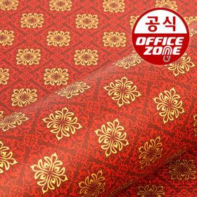 디자인랩 전통국화 종이롤 포장지 레드 10M
