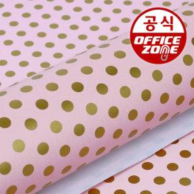 디자인랩 포인트도트 종이롤 포장지 핑크 10M