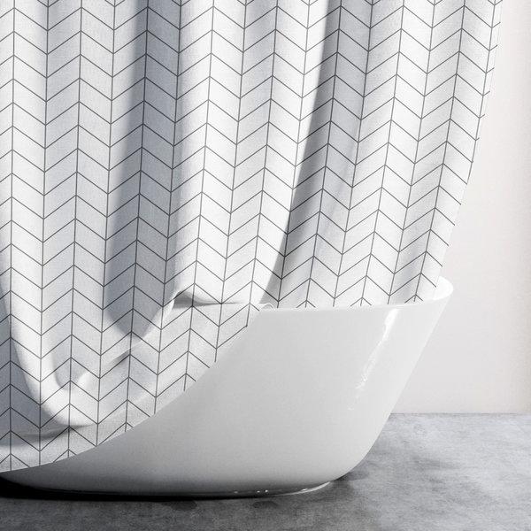 샤워커튼-헤링본화이트(대형)/패브릭 욕실 커텐 방수 상품이미지