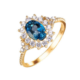14K 런던블루 토파즈 반지 (천연석 감별서 증정)