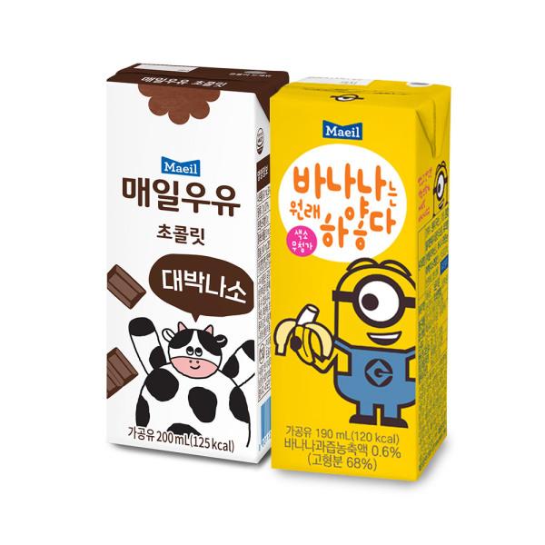 초코우유 200ml 24팩+바나나는원래하얗다 190ml 24팩 상품이미지