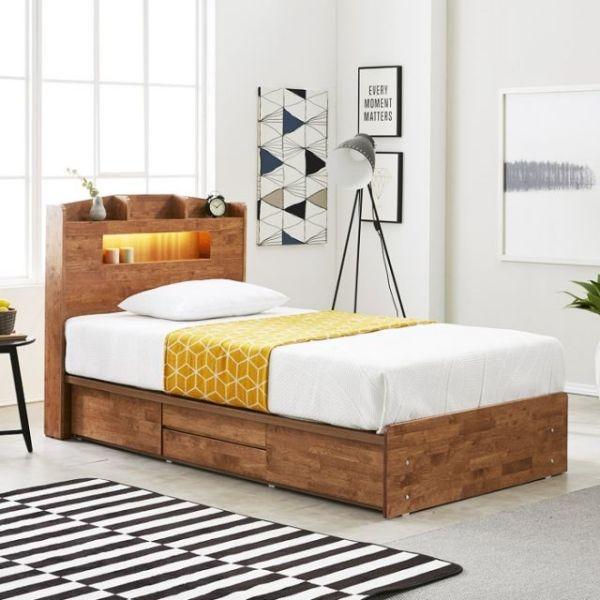 네이처 고무나무원목 LED 4서랍 침대 SS 상품이미지