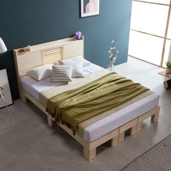 웰 편백나무 Q 평상형 LED 원목 침대 FMF180 상품이미지
