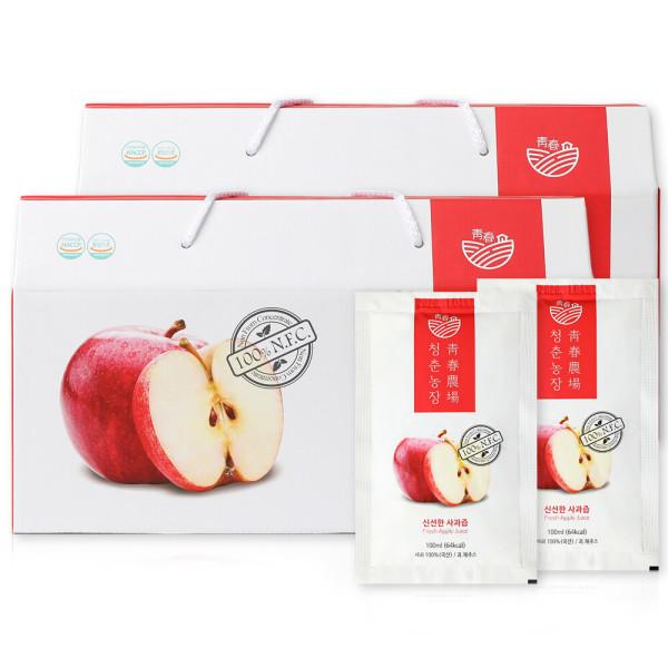 생 사과즙 2박스 60포 착즙 사과주스 어린이기호 인증 상품이미지