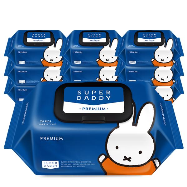 슈퍼대디x미피 프리미엄 물티슈 캡형 70매 10팩(75g) 상품이미지