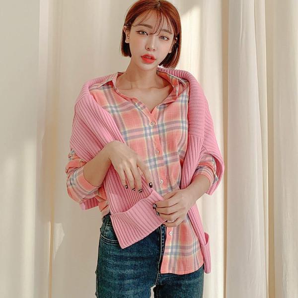캐주얼 체크 긴팔 셔츠 남방 여성 여자 블라우스 W275 상품이미지
