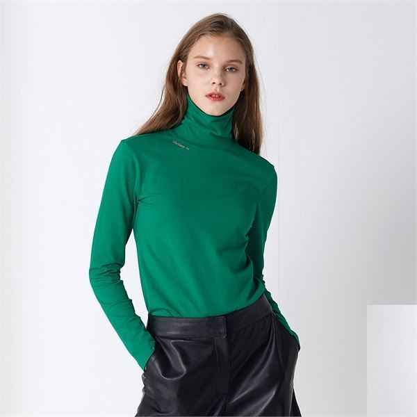 BASIC LETTERING TURTLE NECK GREEN P065207031 상품이미지