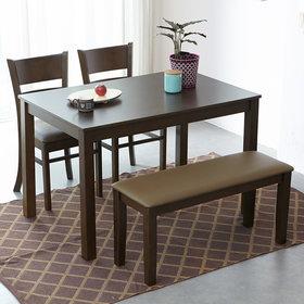 캐빈 원목 4인 식탁세트 벤치형/식탁/의자