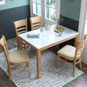 캐빈 하이그로시 4인 식탁세트/원목 의자형