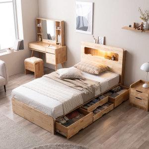 포텐LED 4단 수납 원목 침대(매트제외-슈퍼싱글) -쿠폰