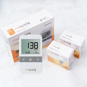 DW이지첵 혈당계+혈당시험지100매+침110+솜100/측정기