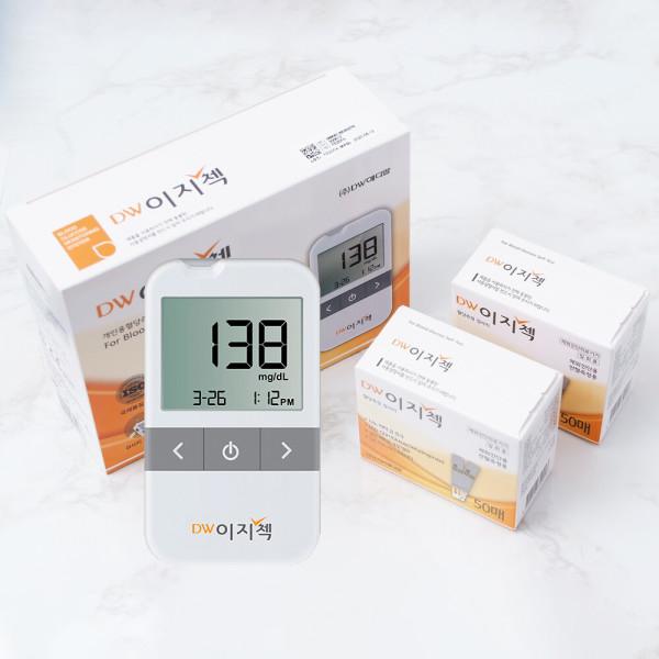 DW이지첵 혈당계+당뇨시험지100+침110+솜100/측정기 상품이미지