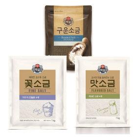 맛소금1kg+ 꽃소금1kg+구운소금500g/백설소금모음