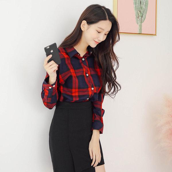캐주얼 체크 긴팔 셔츠 남방 여성 여자 블라우스 W028 상품이미지