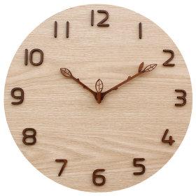 나뭇잎 벽시계 우드 베이지 무소음 벽걸이시계 (신상)