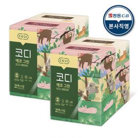 에코그린 미용티슈 180매 6매 2팩 각티슈 화장지