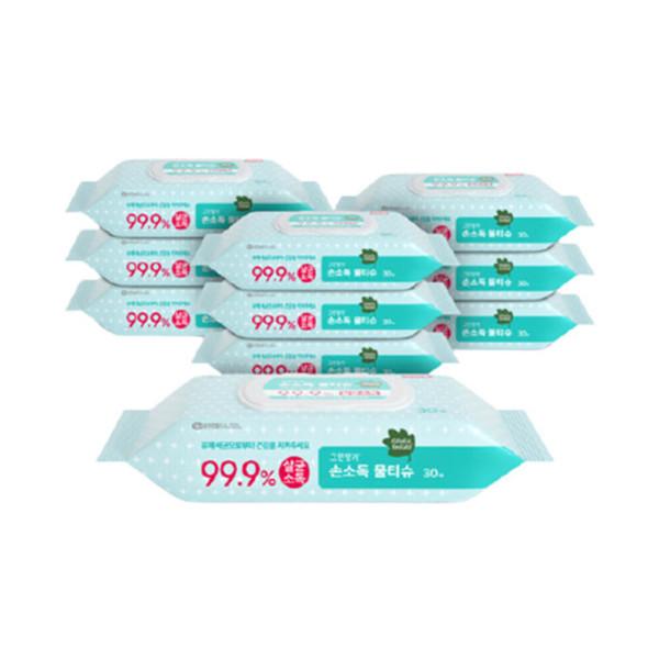 그린핑거 손소독물티슈 30매캡형X10팩(1BOX) 상품이미지