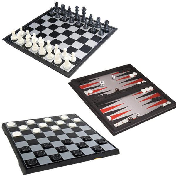 3in1 보드게임 25cm 자석체스 체커 백개먼 3가지 세트 상품이미지