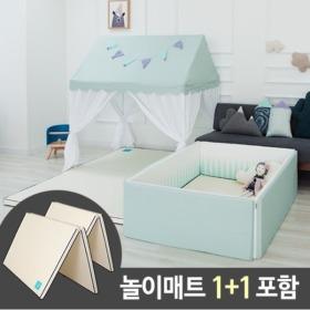 쁘띠메종  올인원 범퍼침대 솔리드 캐노피 민트 (XL)