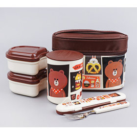 LINE FRIENDS/BRAUN/Cafe/STAINLESS STEEL/Thermal/Lunch Box/560ml