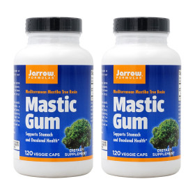 2개 Jarrow 매스틱 검 메스틱 분말 Mastic Gum 1000 mg 120 베지 캡슐