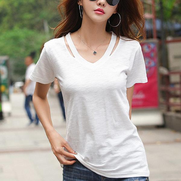 여성 반팔 티셔츠 브이넥 반소매 셔츠 티 옷 여름 상품이미지