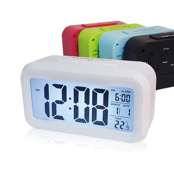 탁상시계 알람시계 온도계 디지털 무소음 시계  화이트 상품이미지