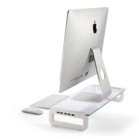 모니터받침대 R30 USB3.0 강화유리 듀얼 선반 노트북