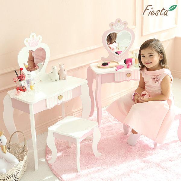 피에스타 유아 원목 화장대 안젤라 핑크 상품이미지