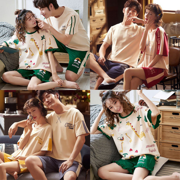 파자마 반팔 반바지 커플 잠옷  홈웨어 여성 여름 상품이미지