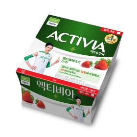 다논 액티비아 요거트(컵/딸기) 80g x 4