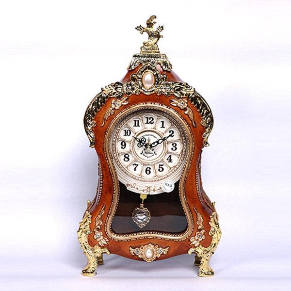 로마클래식 탁상시계 브라운 저소음 인테리어 시계 상품이미지