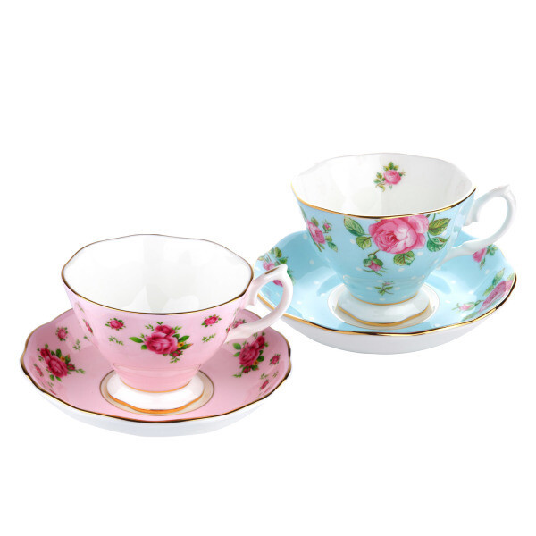 뉴황실장미 커피잔 2인조 핑크블루 상품이미지