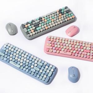 저소음 레트로 무선 키보드 마우스 세트 RMK5000블루