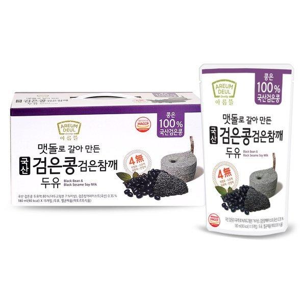 아름뜰 국산 검은콩 검은참깨 두유 180ml15입3box(총 45입) 상품이미지
