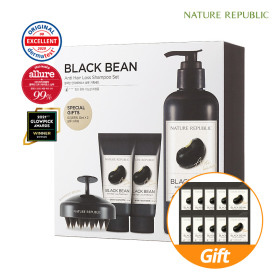 Nature Republic Black Bean Anti Hair Shampoo Set Shampoo 1+ Treatment 2+ Tools
