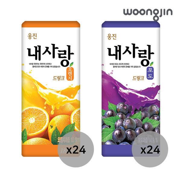 내사랑 오렌지 + 포도 185ml 2박스 (총 48팩) 상품이미지