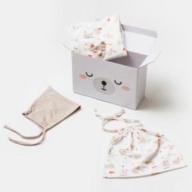 아가방 곰돌이 출산선물세트(우주복/모자/파우치)