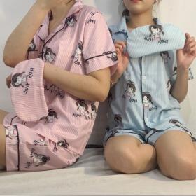양갈래 소녀 잠옷 반팔 세트
