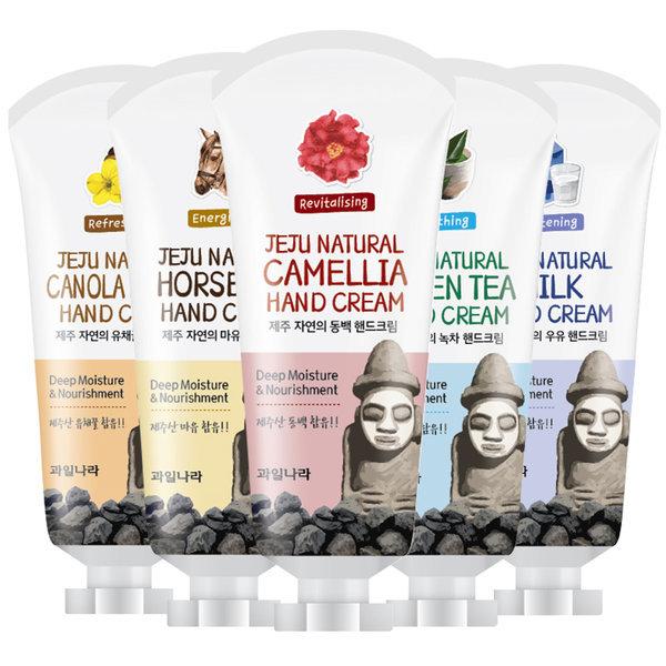 제주 자연의 핸드크림 5개 / 우유+녹차+동백+유채+마유 상품이미지