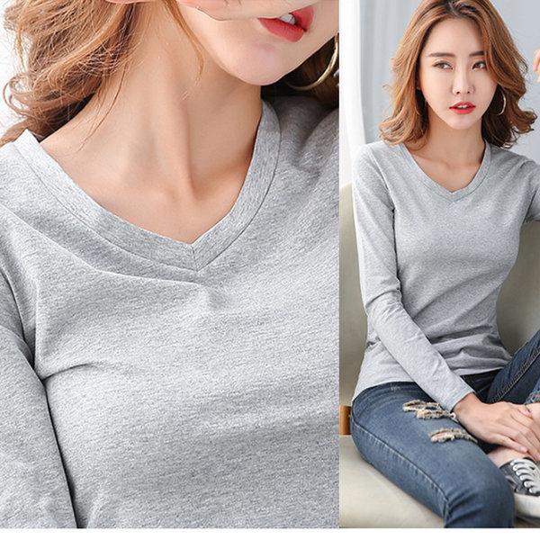 봄 가을 여자 긴팔  티셔츠 여성 옷 티 브이넥 무지 상품이미지