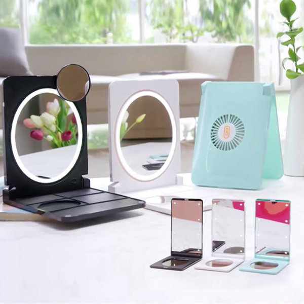 루비쿨 LED 미러 블랙/ 손선풍기+거울+LED조명 상품이미지